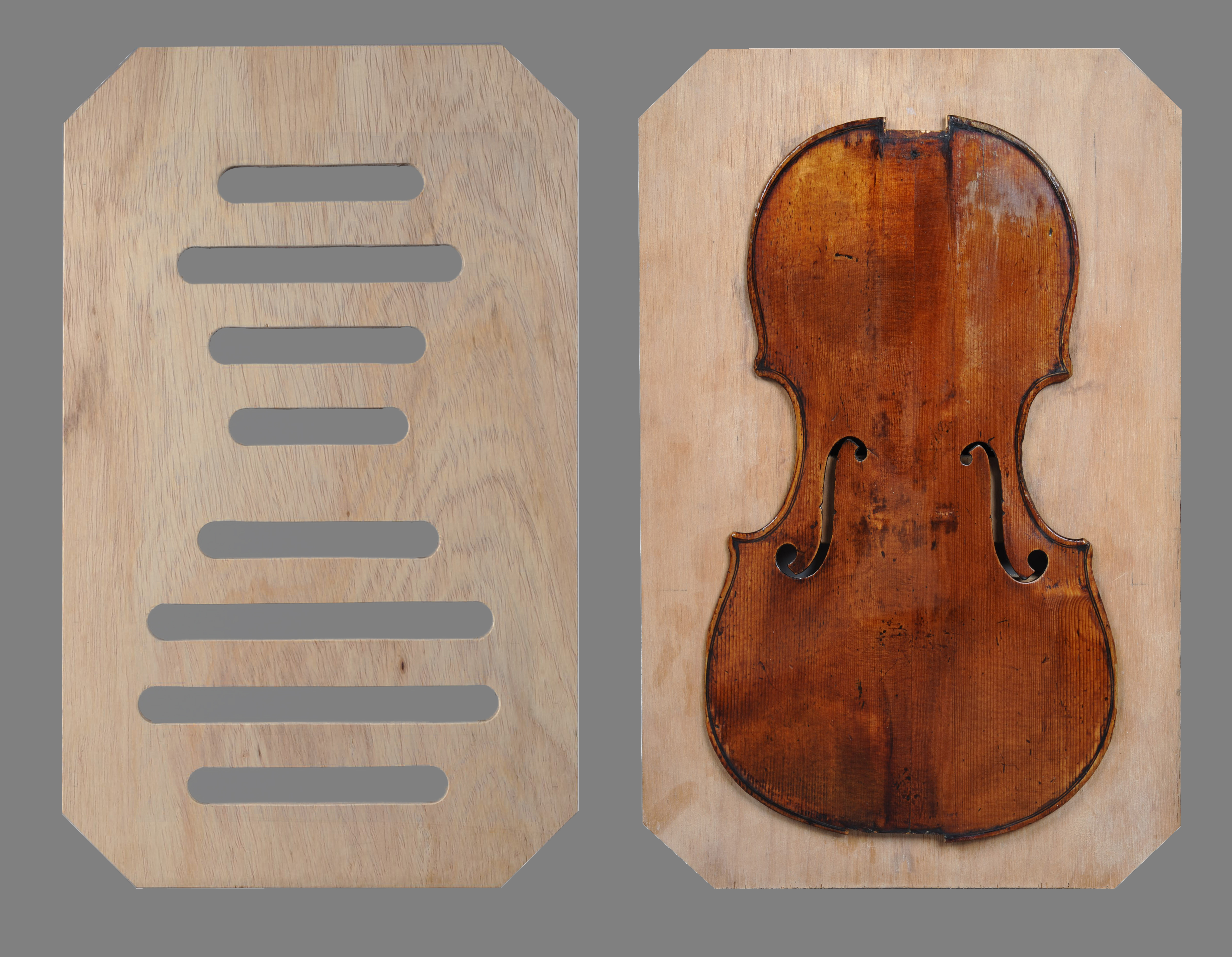 Old wood minerale interior of violin - Fig 1 Board With Holes To Insert The Wedges